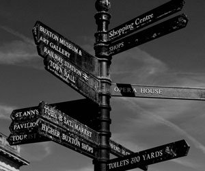 Signpost of places in Buxton