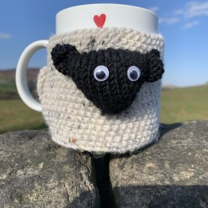 Sheep mug cosy - knitted version