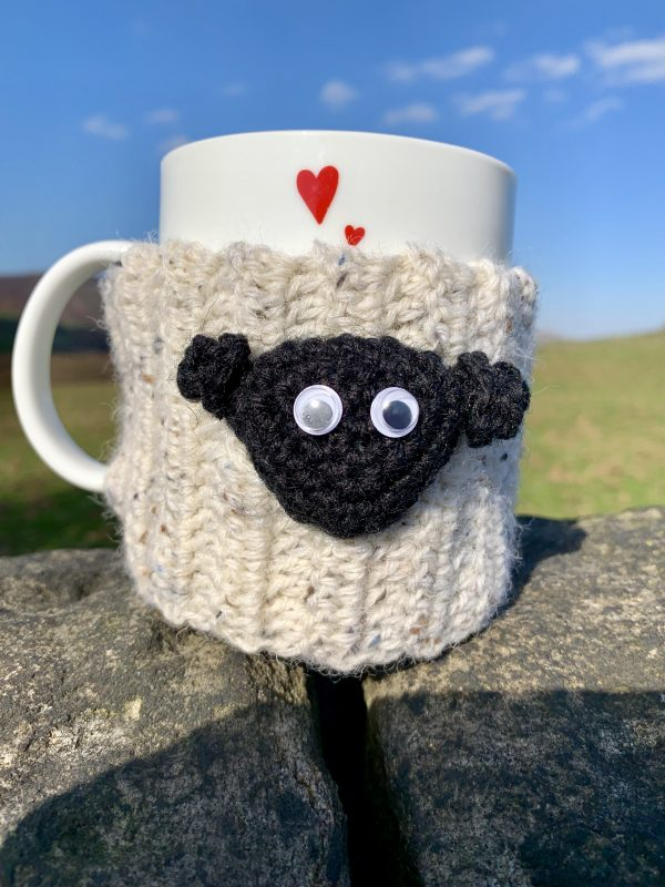 Sheep mug cosy - crocheted version